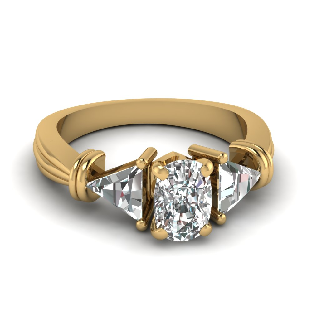 Trillion 3 Stone Cushion Diamond Engagement Ring In 14K Yellow Gold ... 704e3dee1a