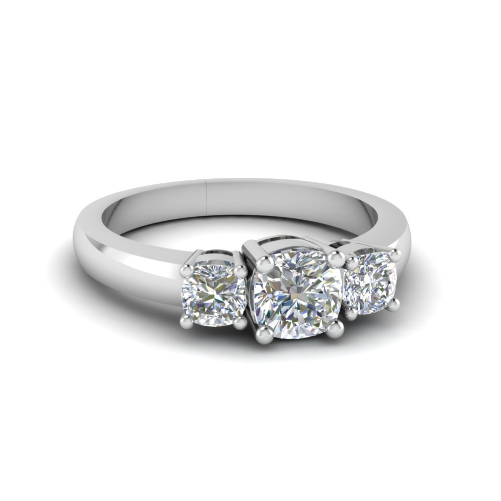 cushion cut engagement ring in 18k white gold