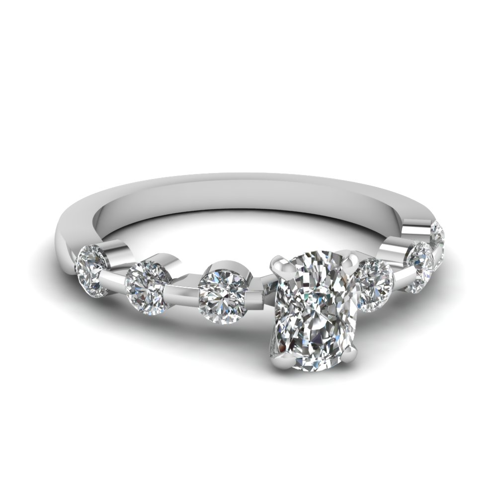 18k White Gold Cushion Cut Diamond Petite Ring