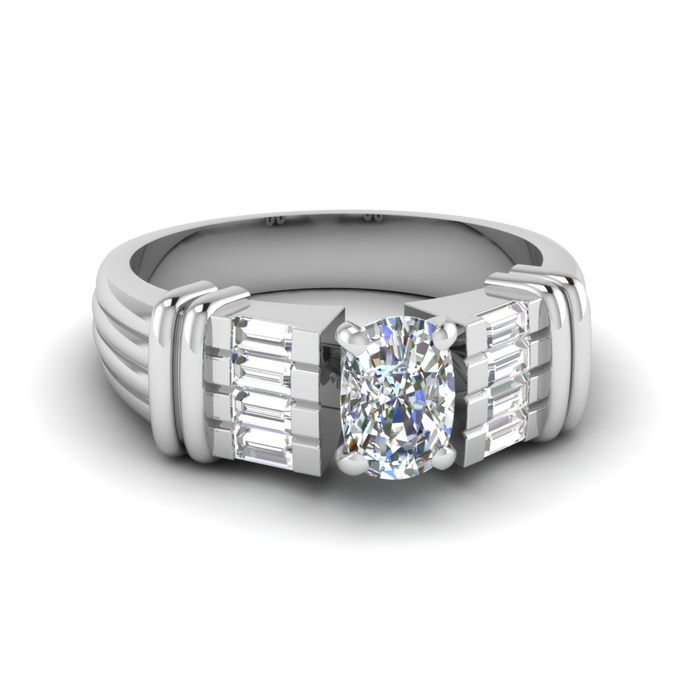 baguette cushion diamond wide engagement ring in FDENR2184CUR NL WG