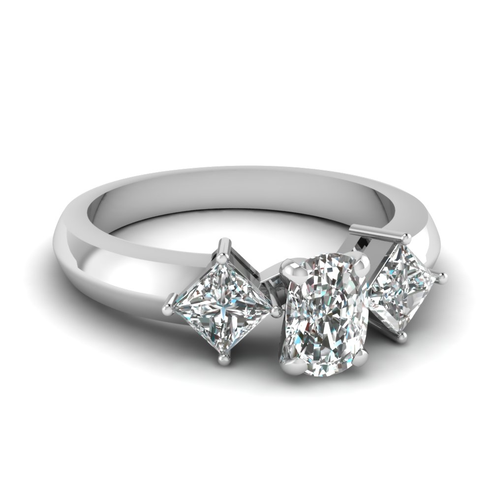 kite set 3 stone cushion cut engagement ring in FDENR263CUR NL WG