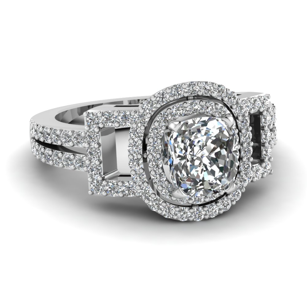 Cushion Diamond Platinum Double Halo Ring