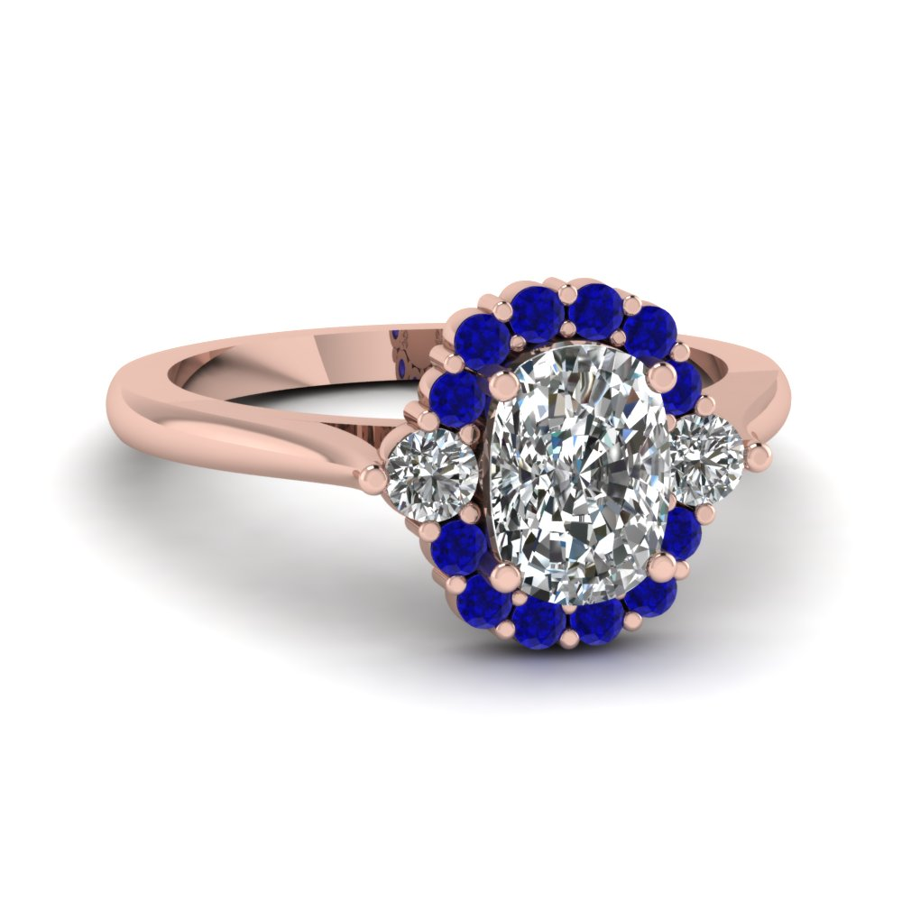 Cushion Cut diamond Halo Engagement Rings with Blue Sapphire in 14K Rose  Gold