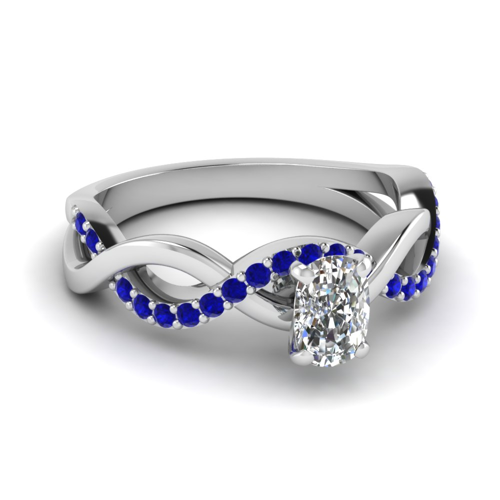 Cushion Cut Twisted Sapphire Ring