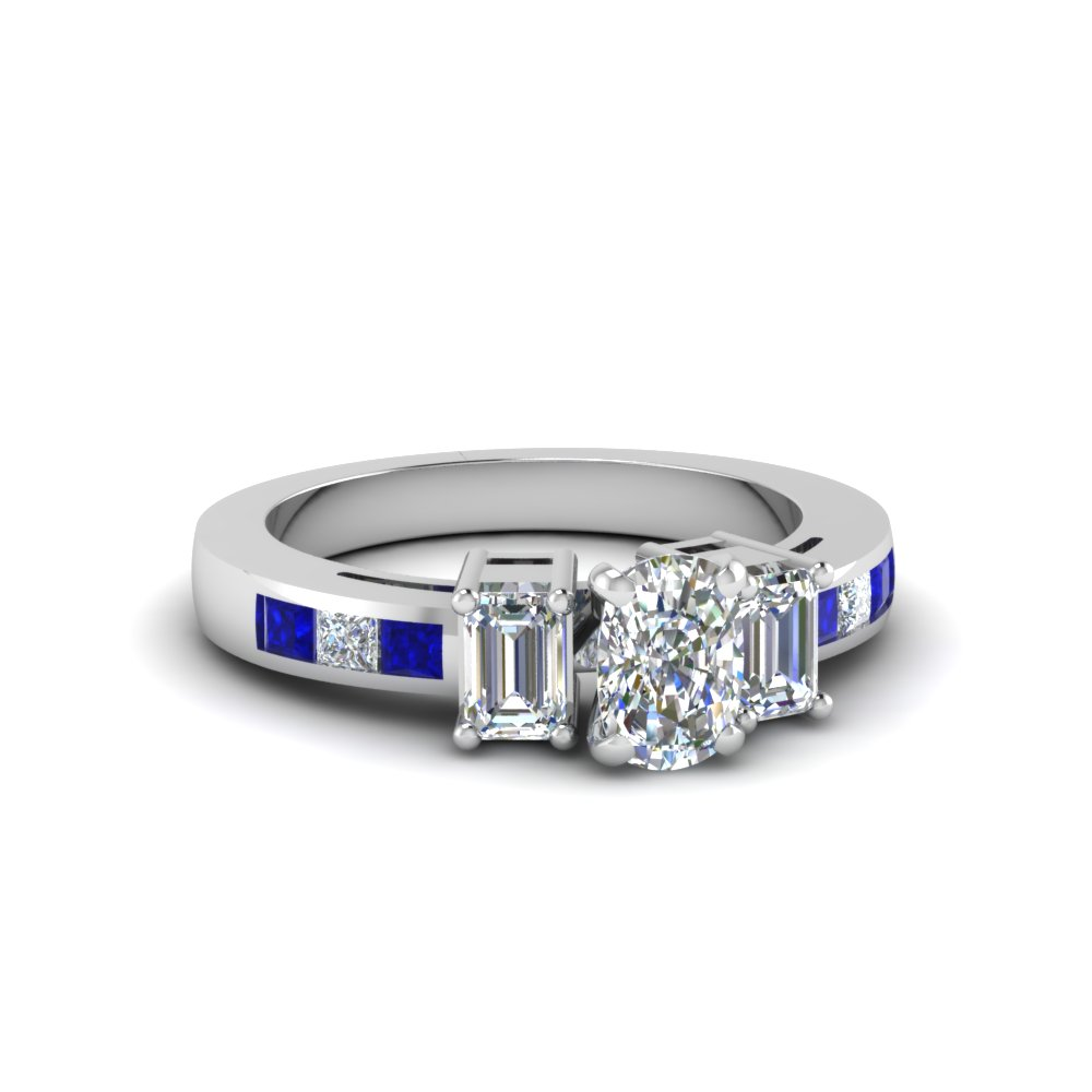 Modern Sapphire and Cushion Diamond Engagement Ring