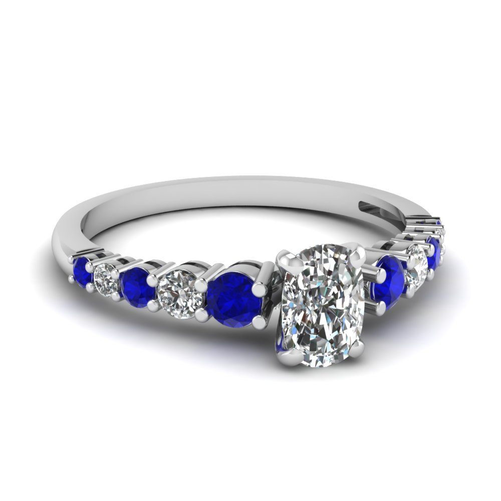 graduated cushion diamond engagement ring with sapphire in FDENS3056CURGSABL NL WG