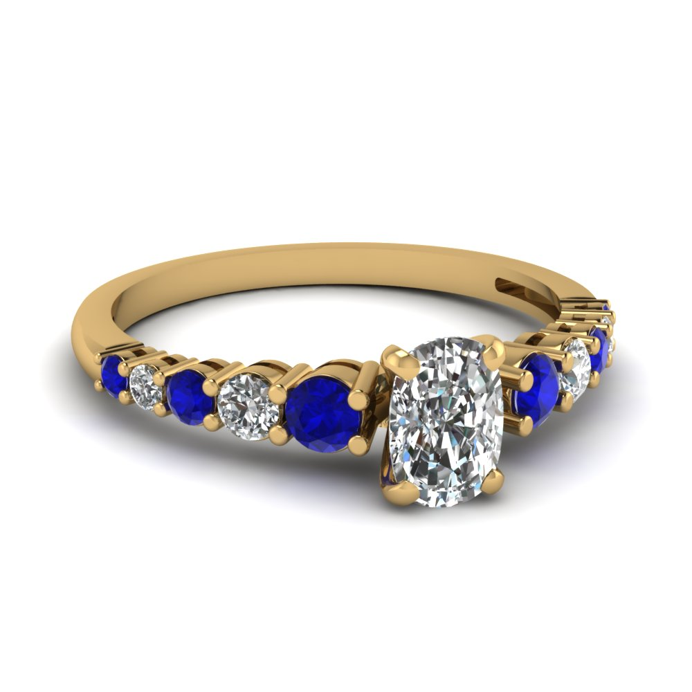 graduated cushion diamond engagement ring with sapphire in FDENS3056CURGSABL NL YG