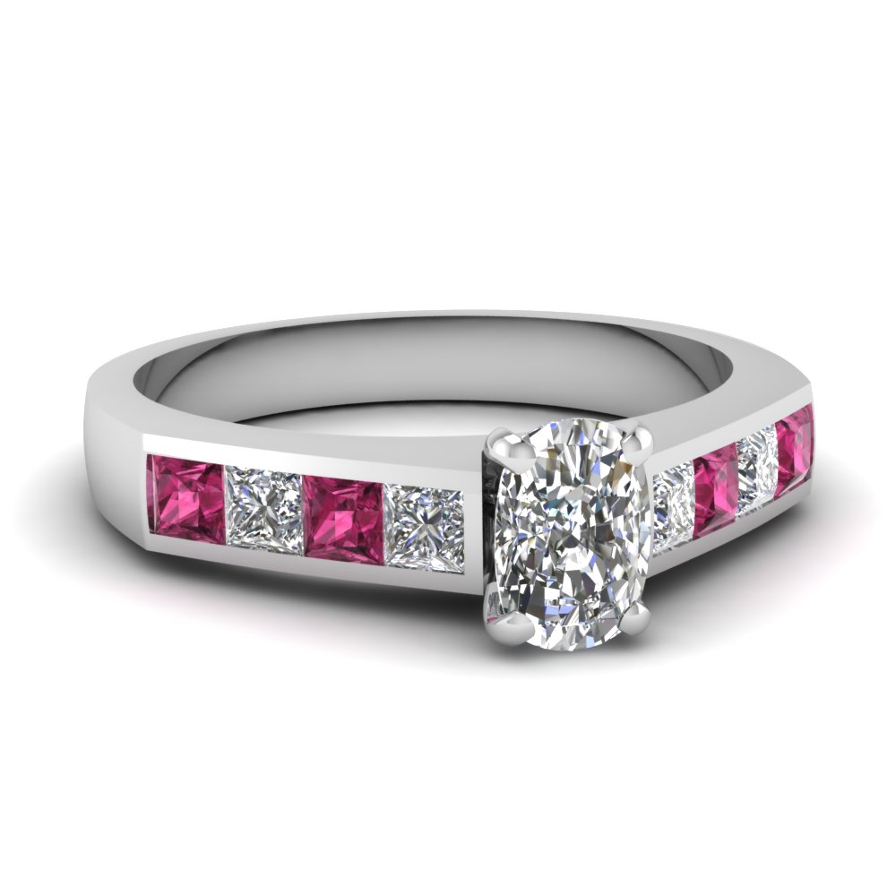 cushion cut channel diamond engagement ring with pink sapphire in 14K white gold FDENR1022CURGSADRPI NL WG