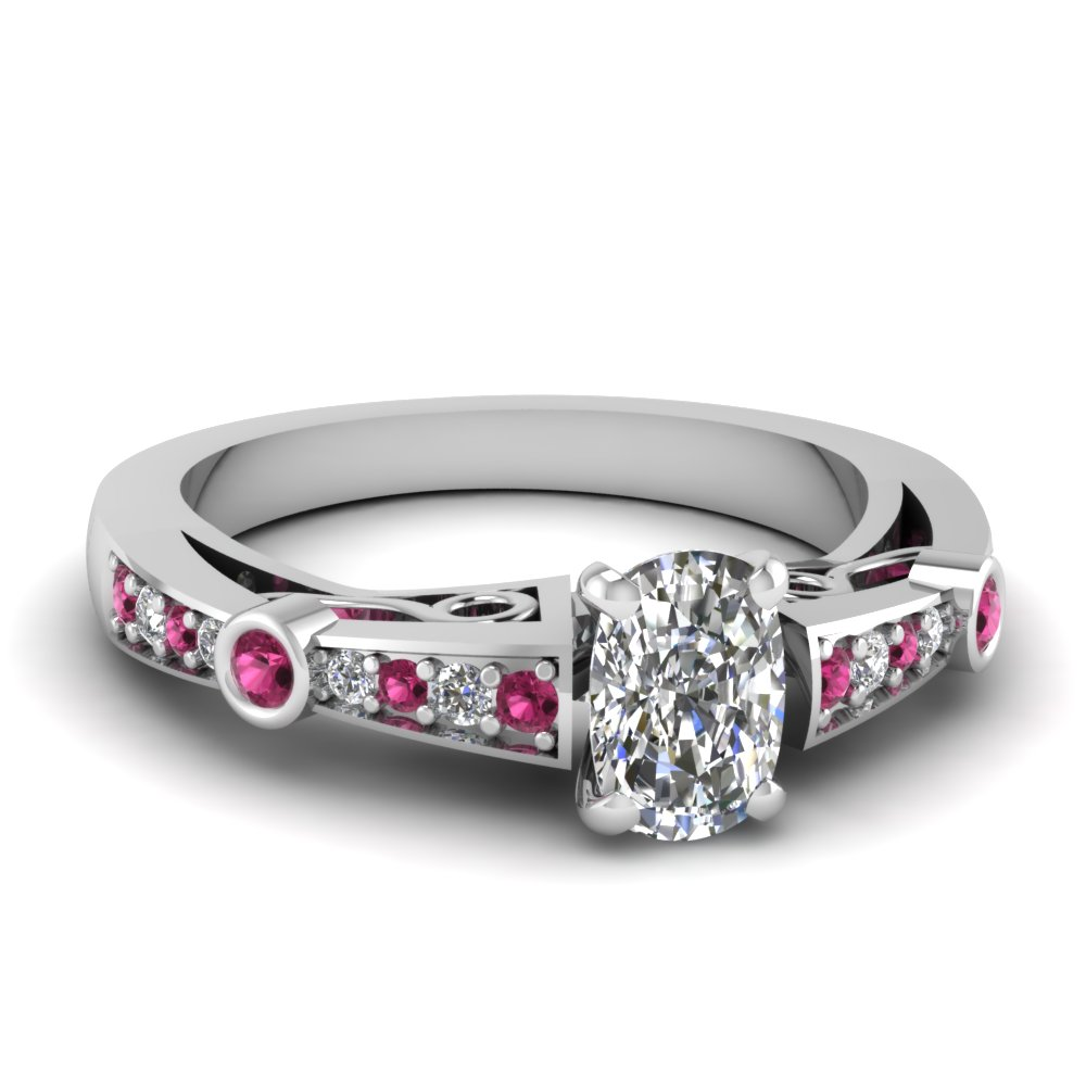 cushion cut diamond tapered vintage engagement ring with pink sapphire in FDENR3142CURGSADRPI NL WG
