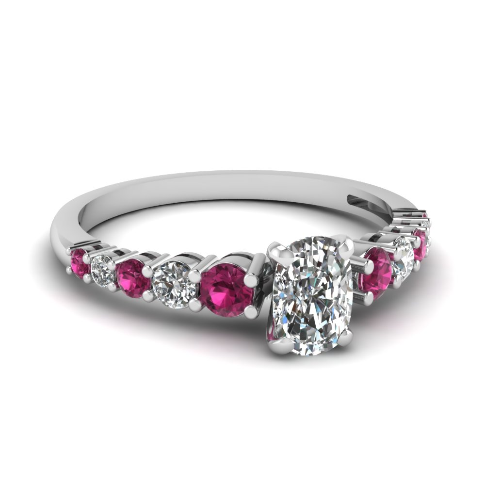 graduated cushion ring with pink sapphire in 14k