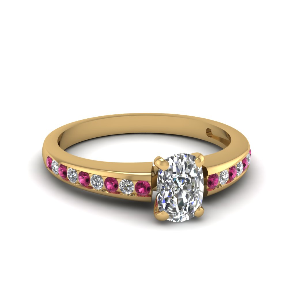 Yellow Gold Sapphire Cushion Cut Popular Channel Set Engagement Ring