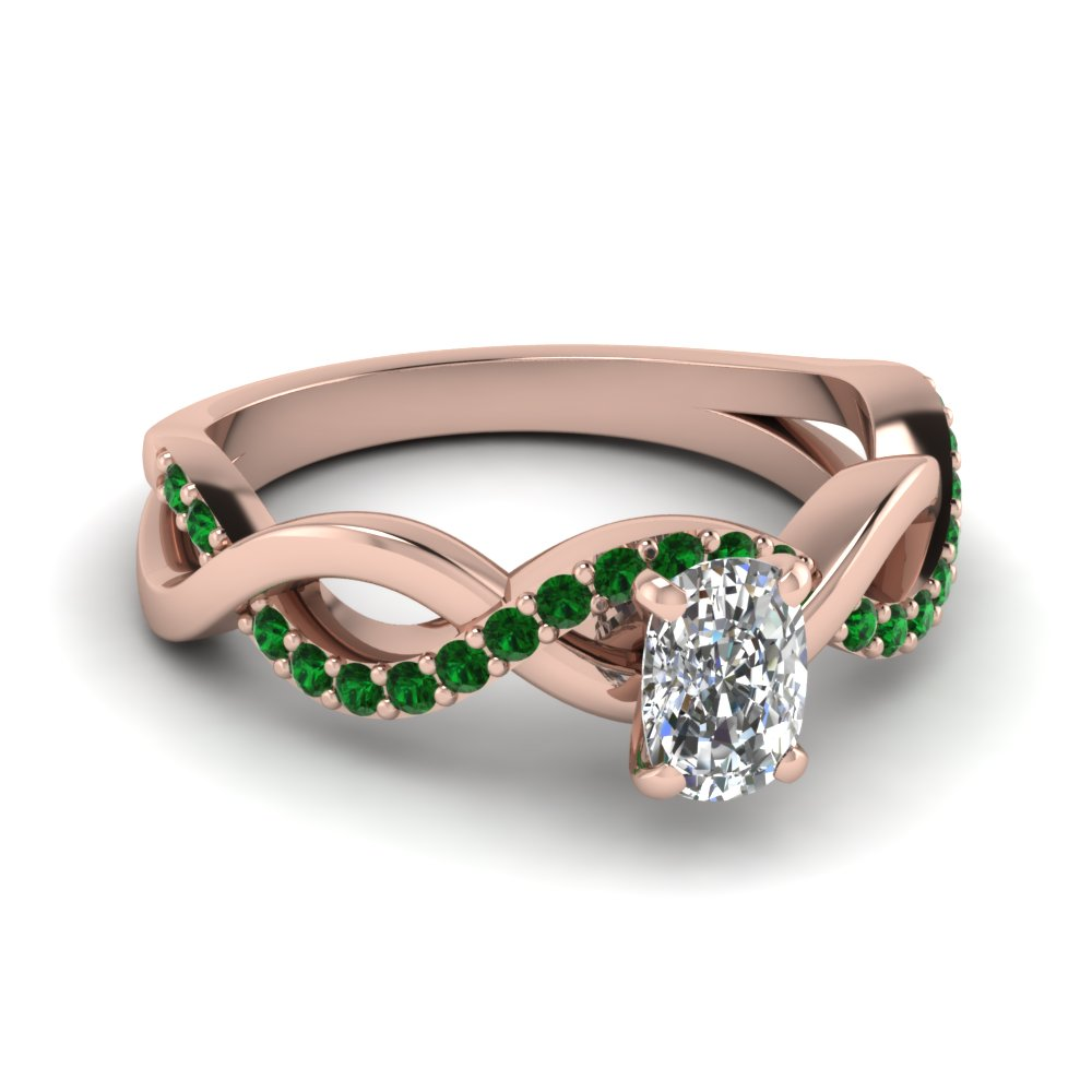 Inifinity Style Emerald Accents Rose Gold Cushion Cut Gemstone Rings for Women