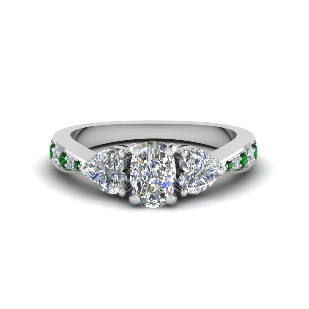 cushion cut tapered 3 stone diamond engagement ring with emerald in FD8033CURGEMGRANGLE1 NL WG