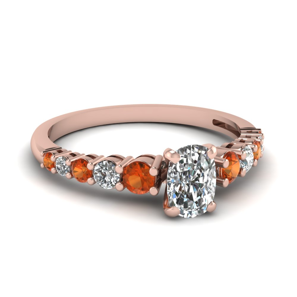 graduated cushion diamond ring with orange sapphire in FDENS3056CURGSAOR NL RG
