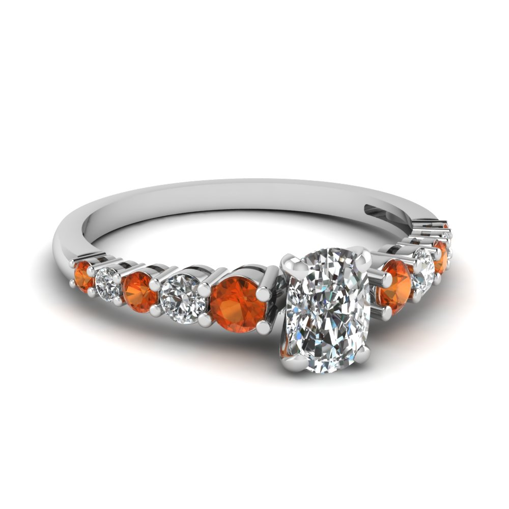 graduated cushion diamond engagement ring with orange sapphire in FDENS3056CURGSAOR NL WG