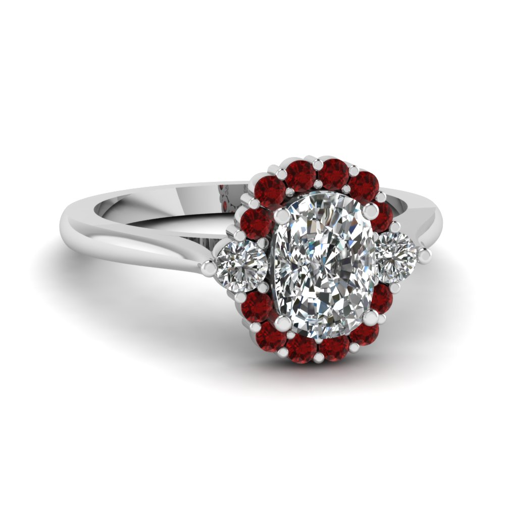 Ruby Halo Cushion Diamond Petite Ring