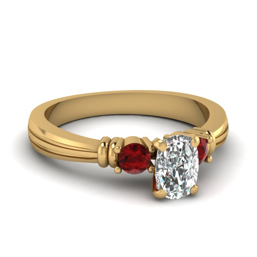 Accent Ruby Cushion Cut Ring