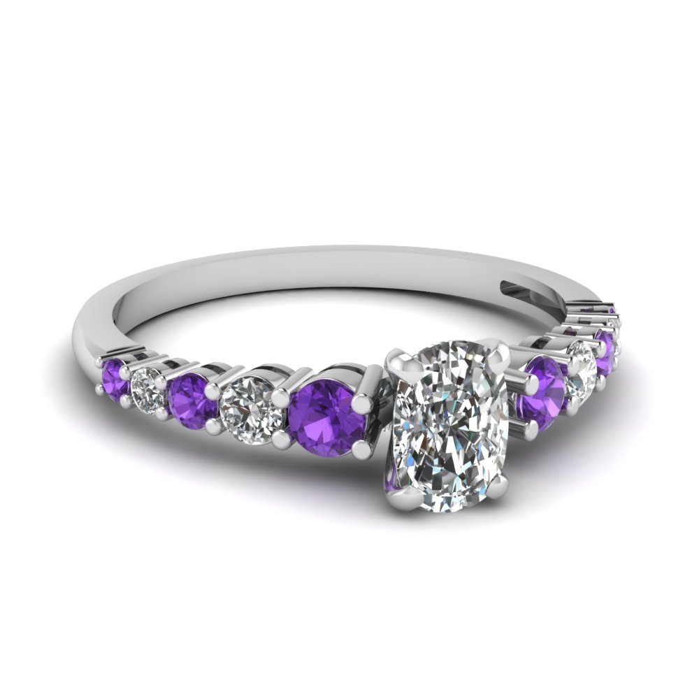 engagement rings birthstone white february amethyst gold promise diamond princess ring purple