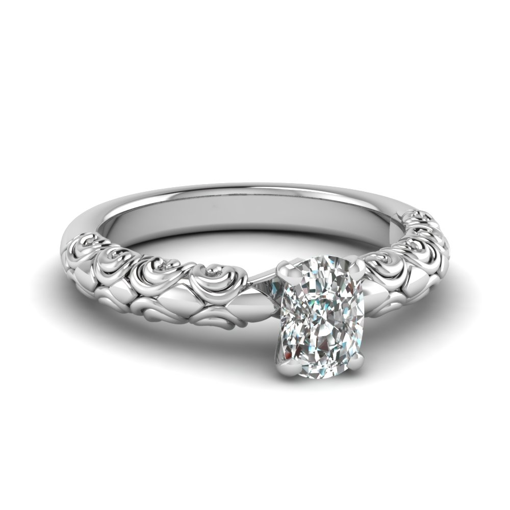 Filigree Cushion Cut Solitaire Ring