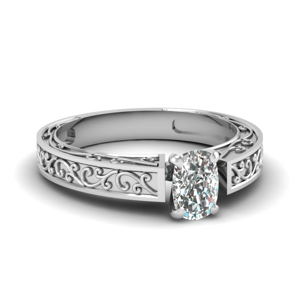 filigree engraved cushion cut solitaire engagement ring in FDENS3569CUR NL WG