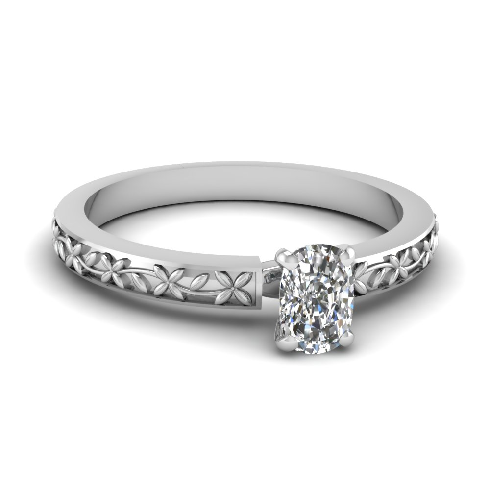 floral engraved cushion diamond solitaire engagement ring in FDENS3552CUR NL WG