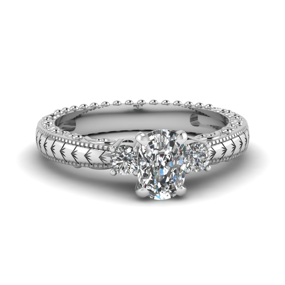 Cheap 3 Stone Cushion Cut Engagement Rings