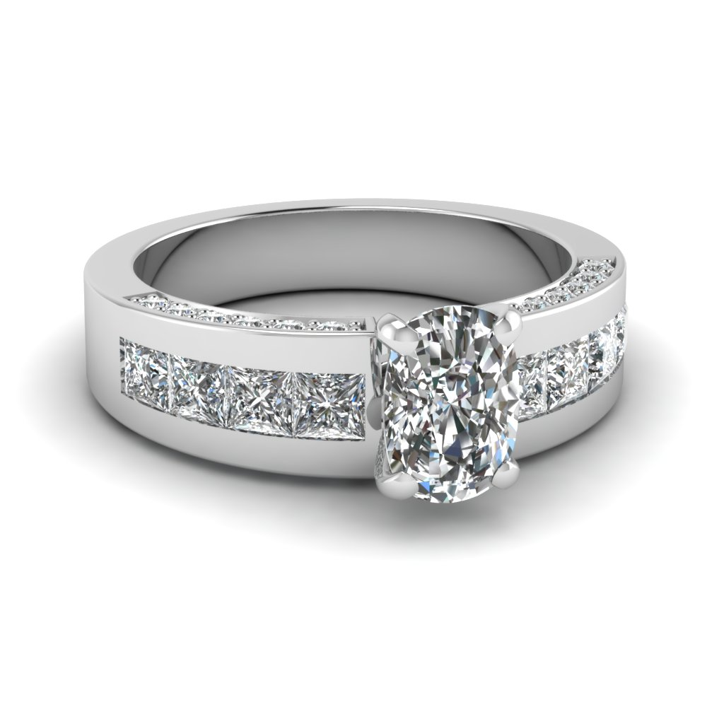 White Gold Cushion Cut Diamond Ring With Princess Accents