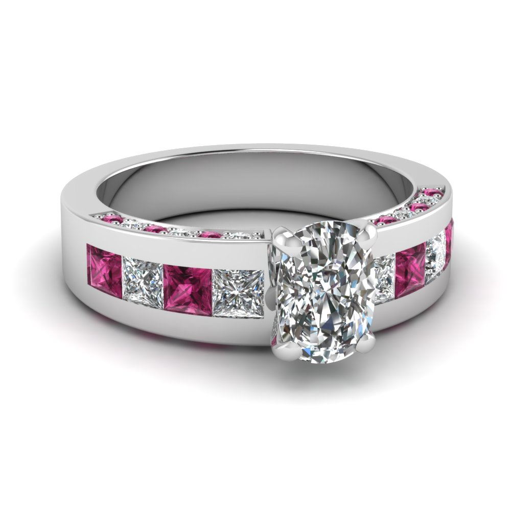 Pink Sapphire Side Stones Engagement Ring With Cushion Cut Center Stone