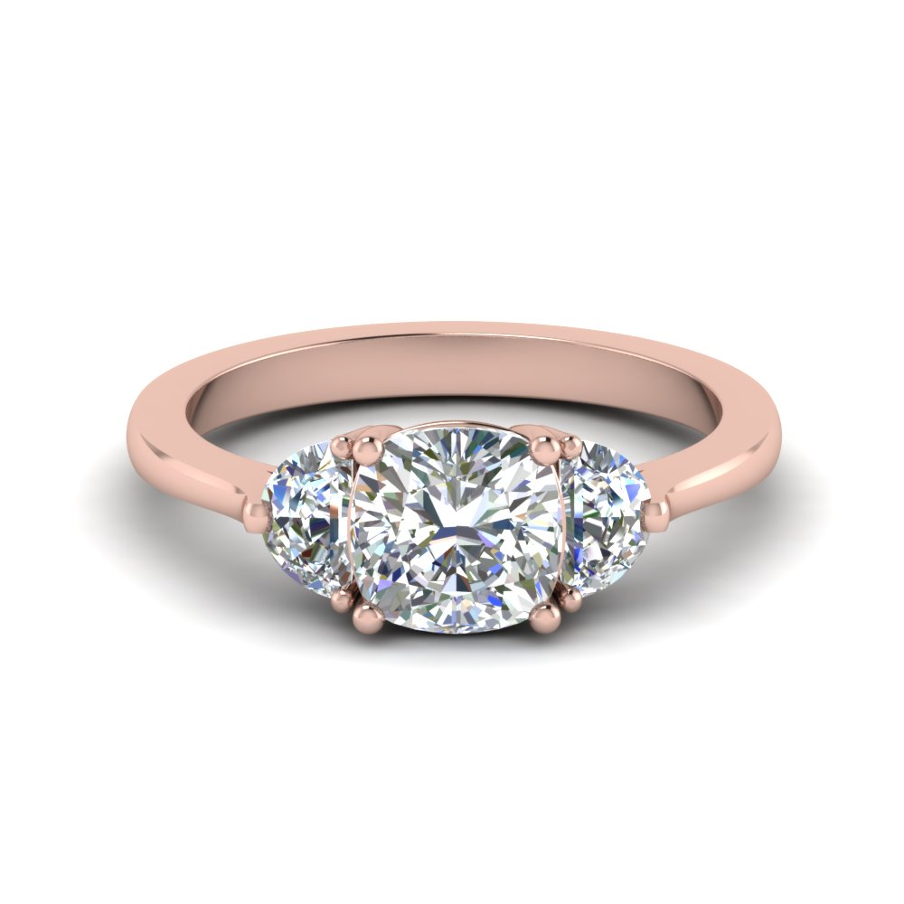 Cushion Cut 3 Stone Rose Gold Rings