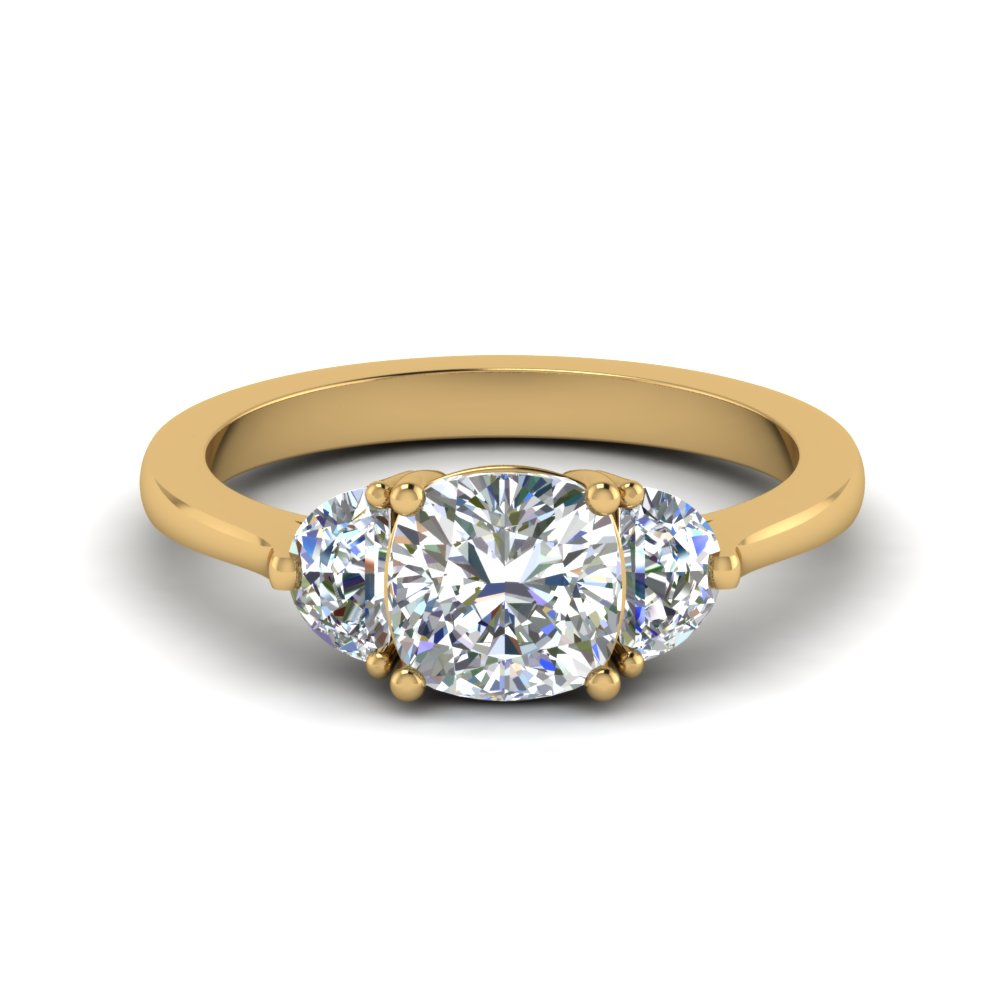 Cushion Cut 3 Stone Engagement Rings