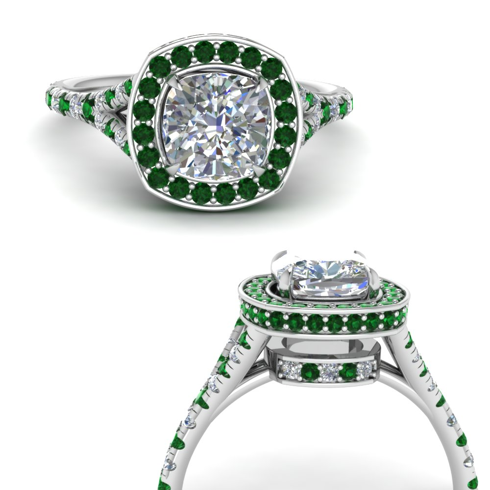 cushion-cut-diamond-halo-Split-engagement-ring-with-emerald-in-FDENR8753CURGEMGRANGLE3-NL-WG