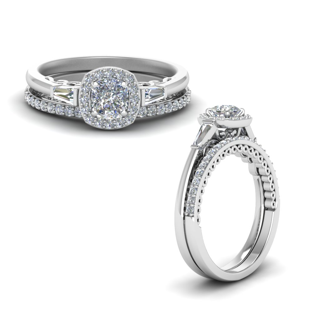 Halo Cushion Diamond Wedding Ring Set With Baguette In 14K White ...