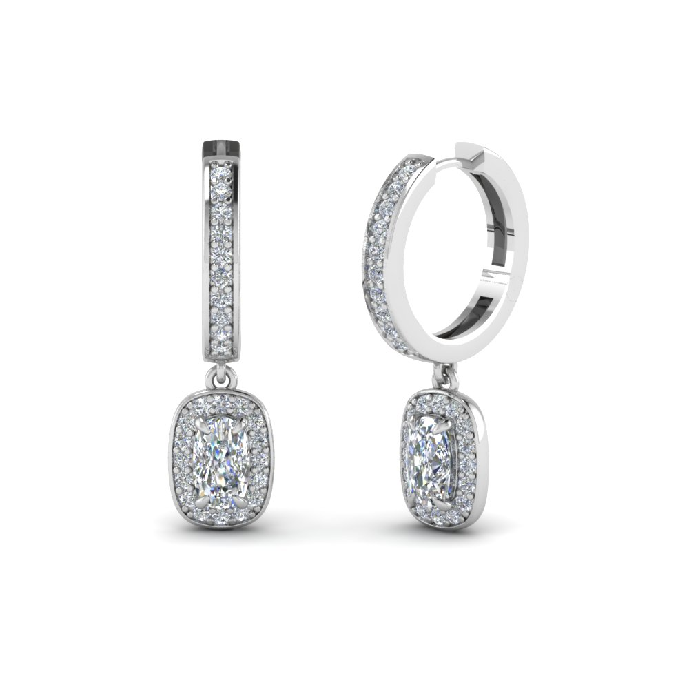Cushion Cut Halo Earring