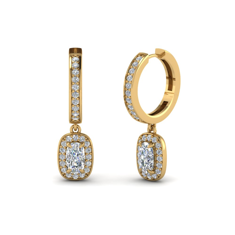Cushion Halo Hoop Diamond Earring In Fdear1185cu Nl Yg