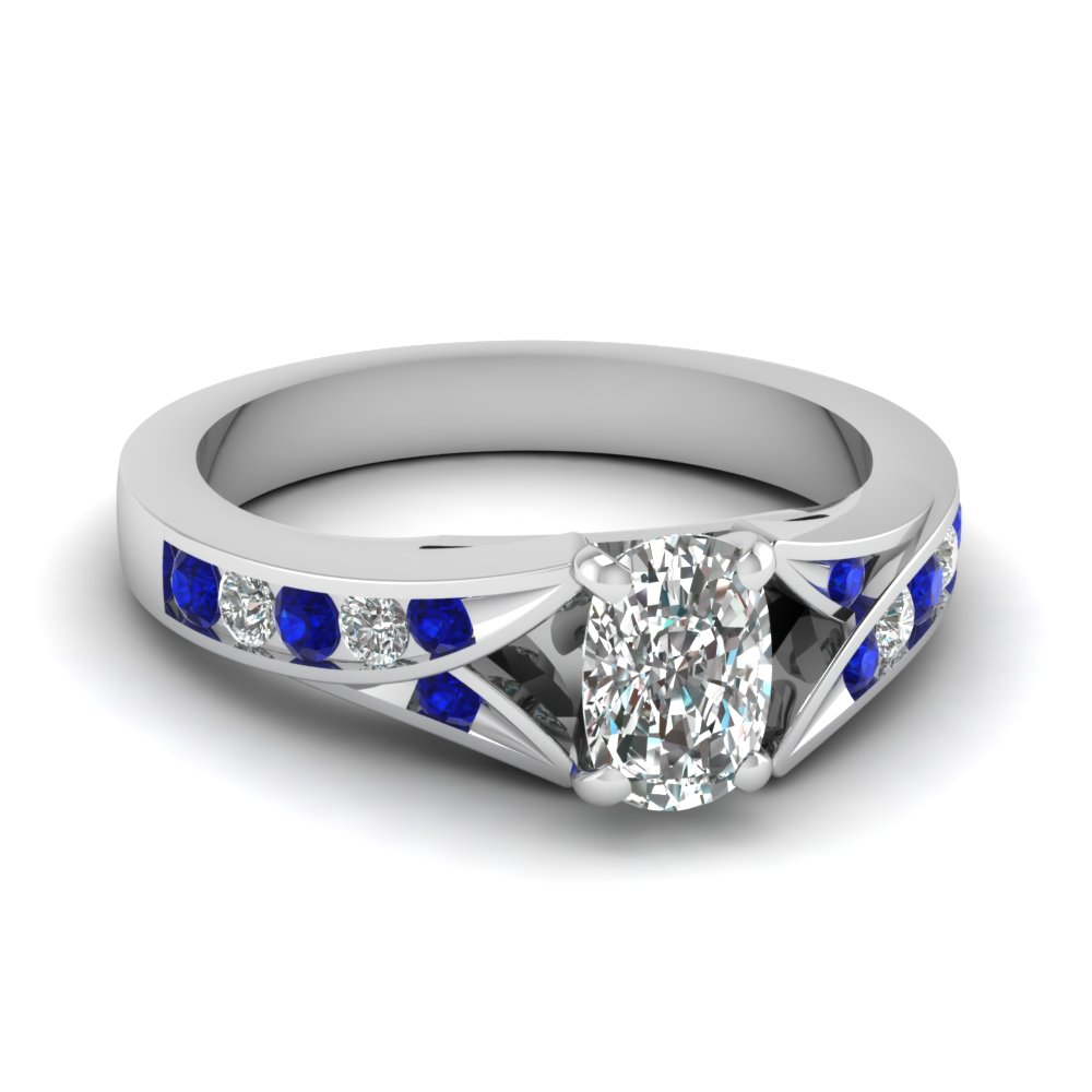 cushion cut split shank channel diamond engagement ring with sapphire in FDENR1014CURGSABL NL WG
