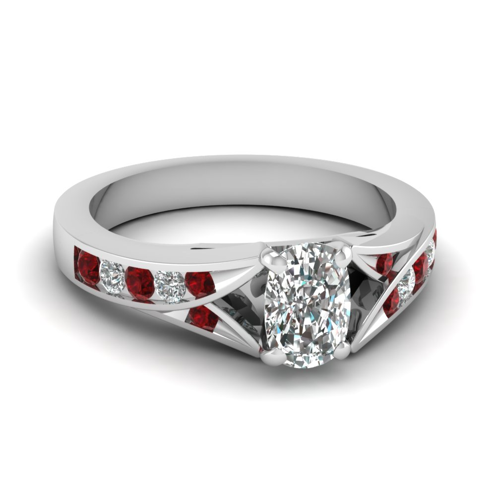 cushion cut split shank channel diamond engagement ring with ruby in FDENR1014CURGRUDR NL WG