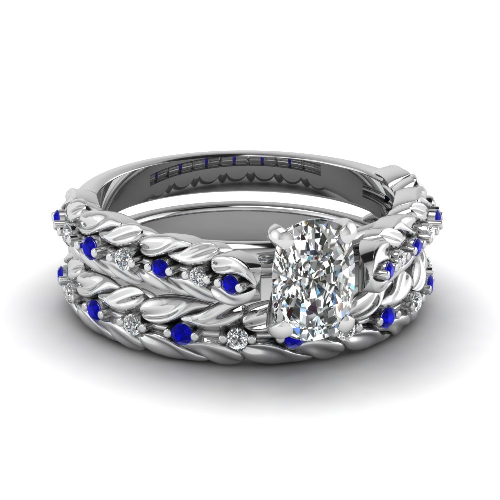 leaf design cushion cut diamond wedding ring set with sapphire in 14K white gold FD121970CUGSABL NL WG