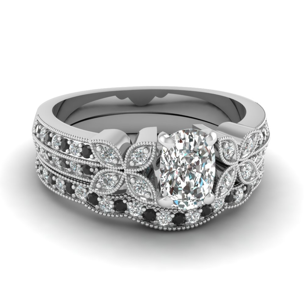 cushion-cut-diamond-milgrain-petal-wedding-set-with-black-diamond-in-950-Platinum-FDENS3308CUGBLACK-NL-WG