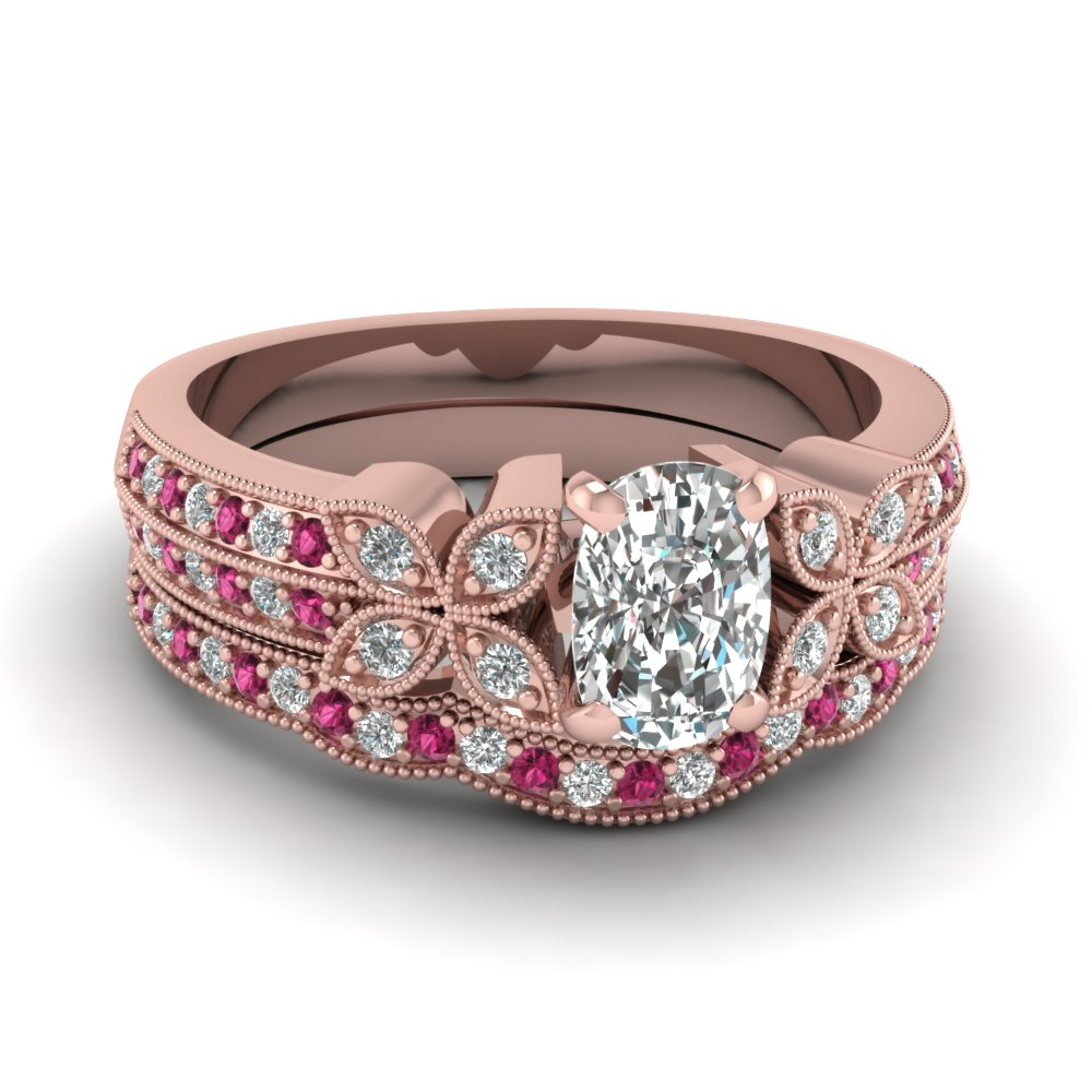 milgrain petal cushion diamond wedding ring set with pink sapphire in FDENS3308CUGSADRPI NL RG
