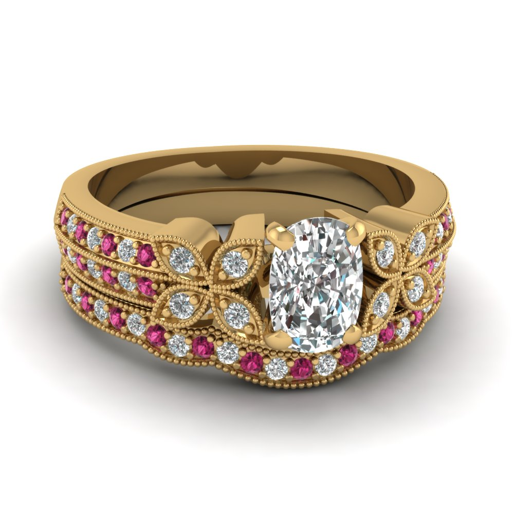 milgrain petal cushion diamond wedding ring set with pink sapphire in FDENS3308CUGSADRPI NL YG