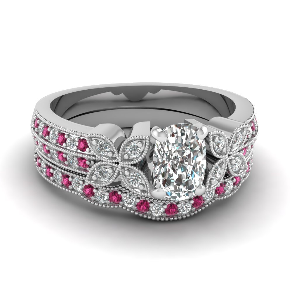 cushion-cut-diamond-milgrain-petal-wedding-set-with-dark-pink-sapphire-in-950-Platinum-FDENS3308CUGSADRPI-NL-WG
