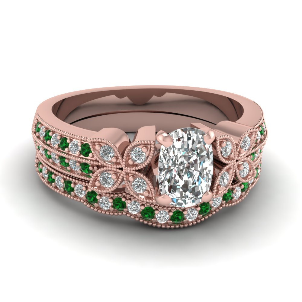 cushion-cut-diamond-milgrain-petal-wedding-set-with-green-emerald-in-14K-rose-gold-FDENS3308CUGEMGR-NL-RG