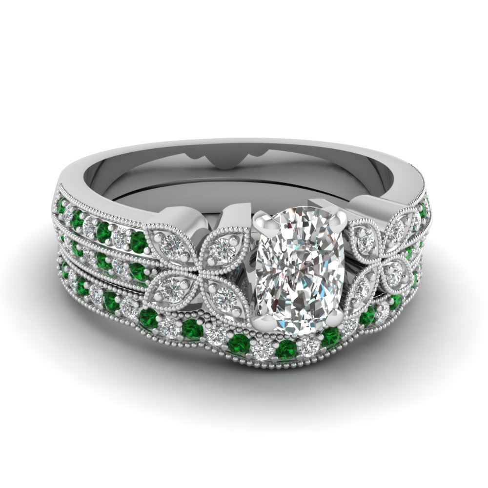 cushion-cut-diamond-milgrain-petal-wedding-set-with-green-emerald-in-18K-white-gold-FDENS3308CUGEMGR-NL-WG