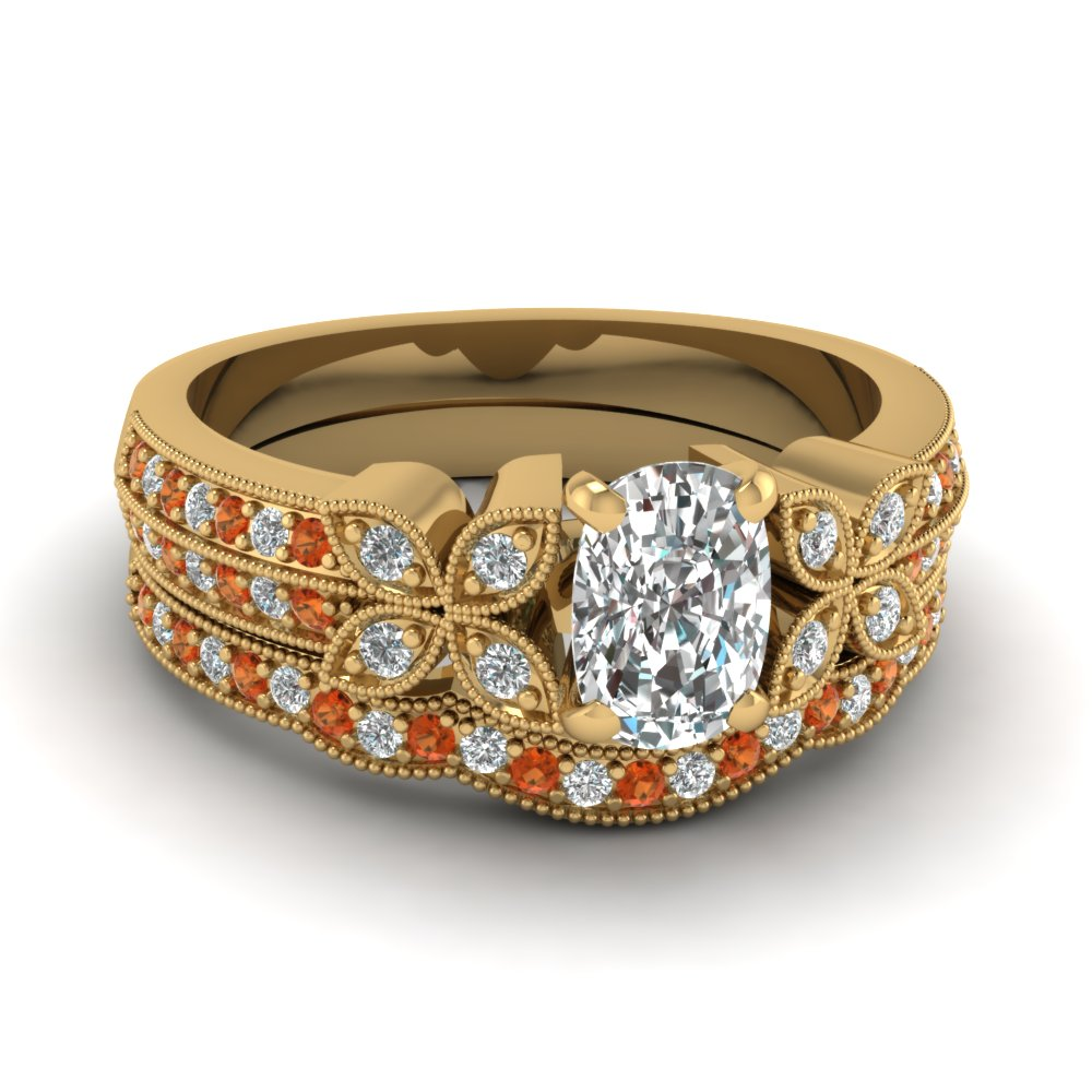 cushion-cut-diamond-milgrain-petal-wedding-set-with-orange-sapphire-in-14K-yellow-gold-FDENS3308CUGSAOR-NL-YG