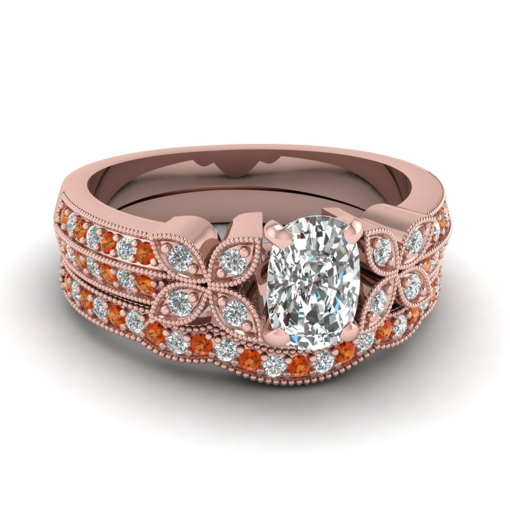 milgrain petal cushion diamond wedding ring set with orange sapphire in FDENS3308CUGSAOR NL RG