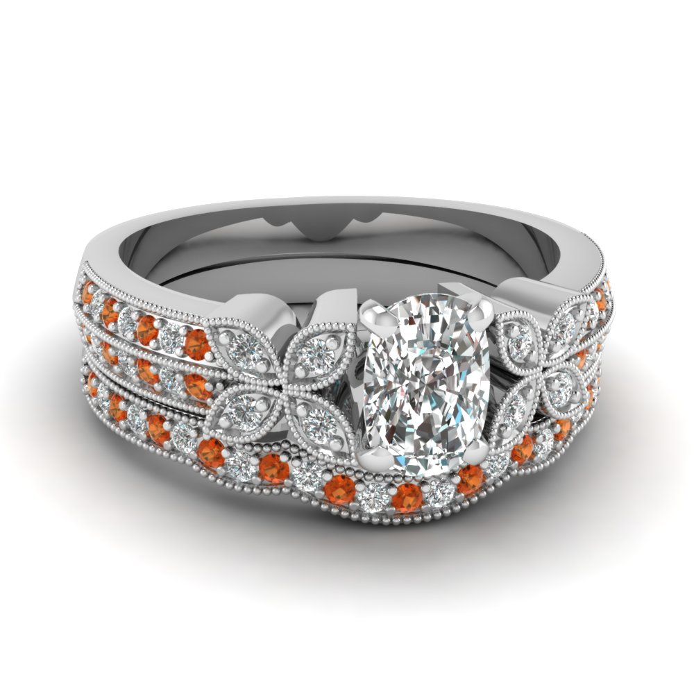 milgrain petal cushion diamond wedding ring set with orange sapphire in FDENS3308CUGSAOR NL WG