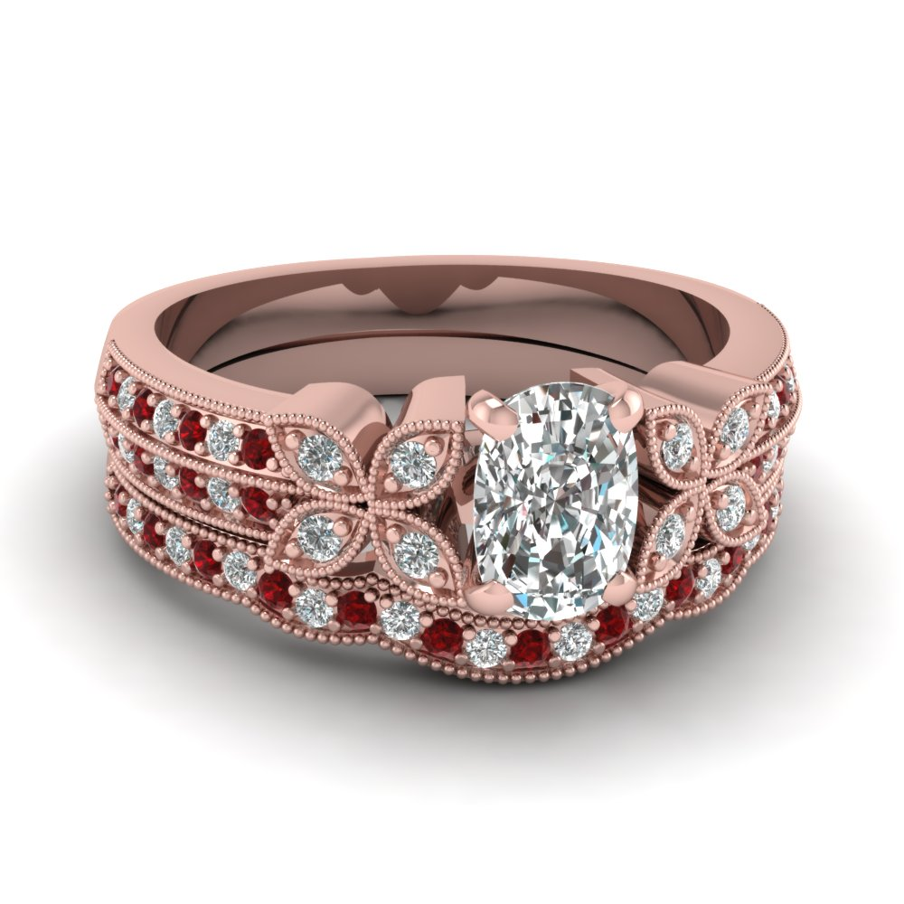 cushion-cut-diamond-milgrain-petal-wedding-set-with-red-ruby-in-14K-rose-gold-FDENS3308CUGRUDR-NL-RG
