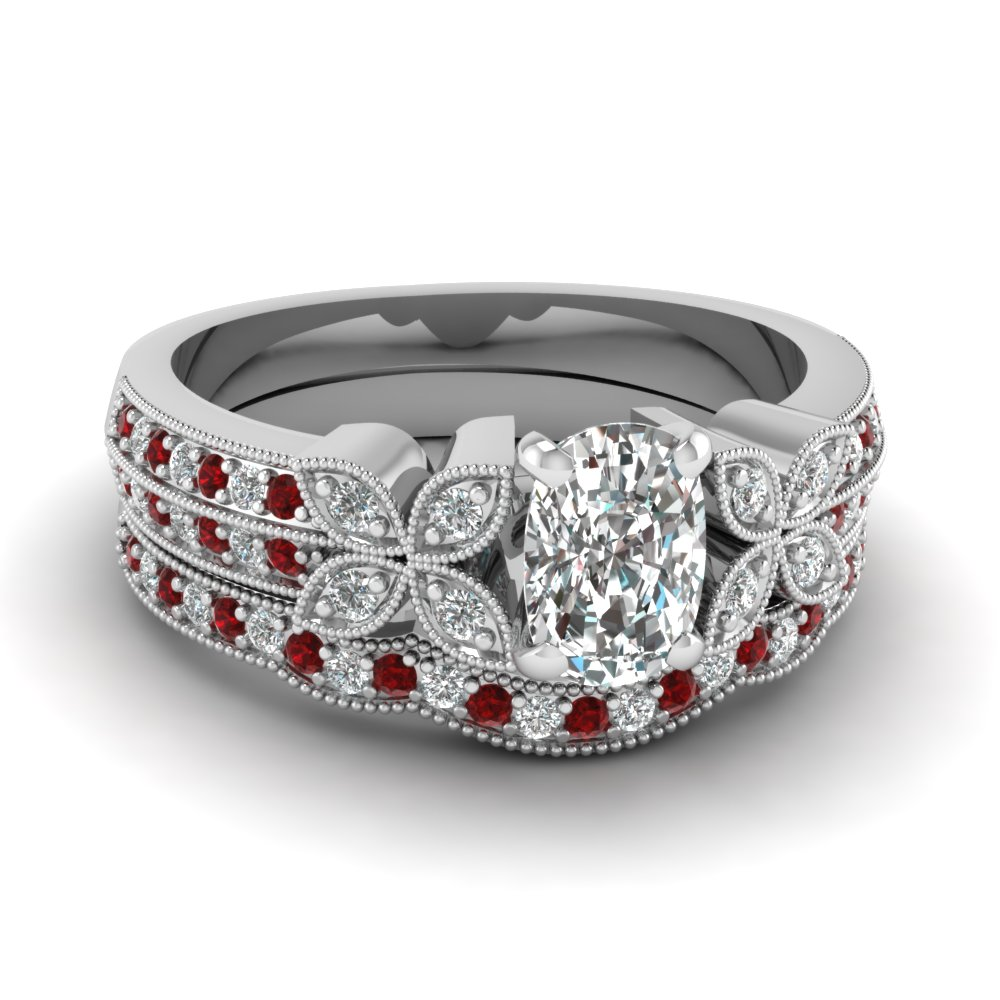 milgrain petal cushion diamond wedding ring set with ruby in FDENS3308CUGRUDR NL WG