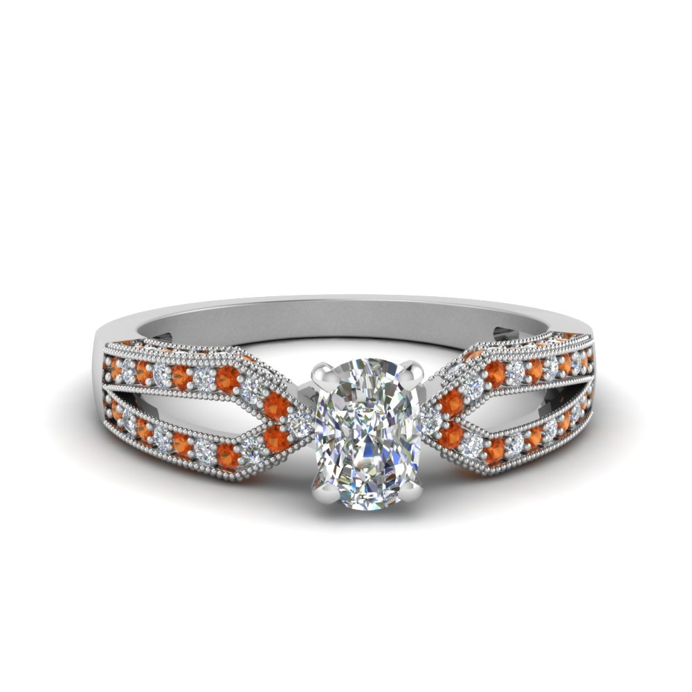 antique split pave cushion cut diamond engagement ring with orange sapphire in FDENS3130CURGSAOR NL WG