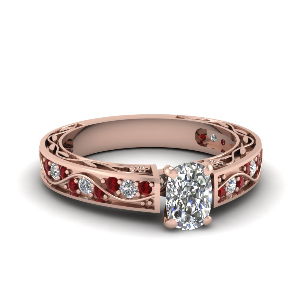 Buy Classy Rose Gold Cushion Cut Engagement Rings